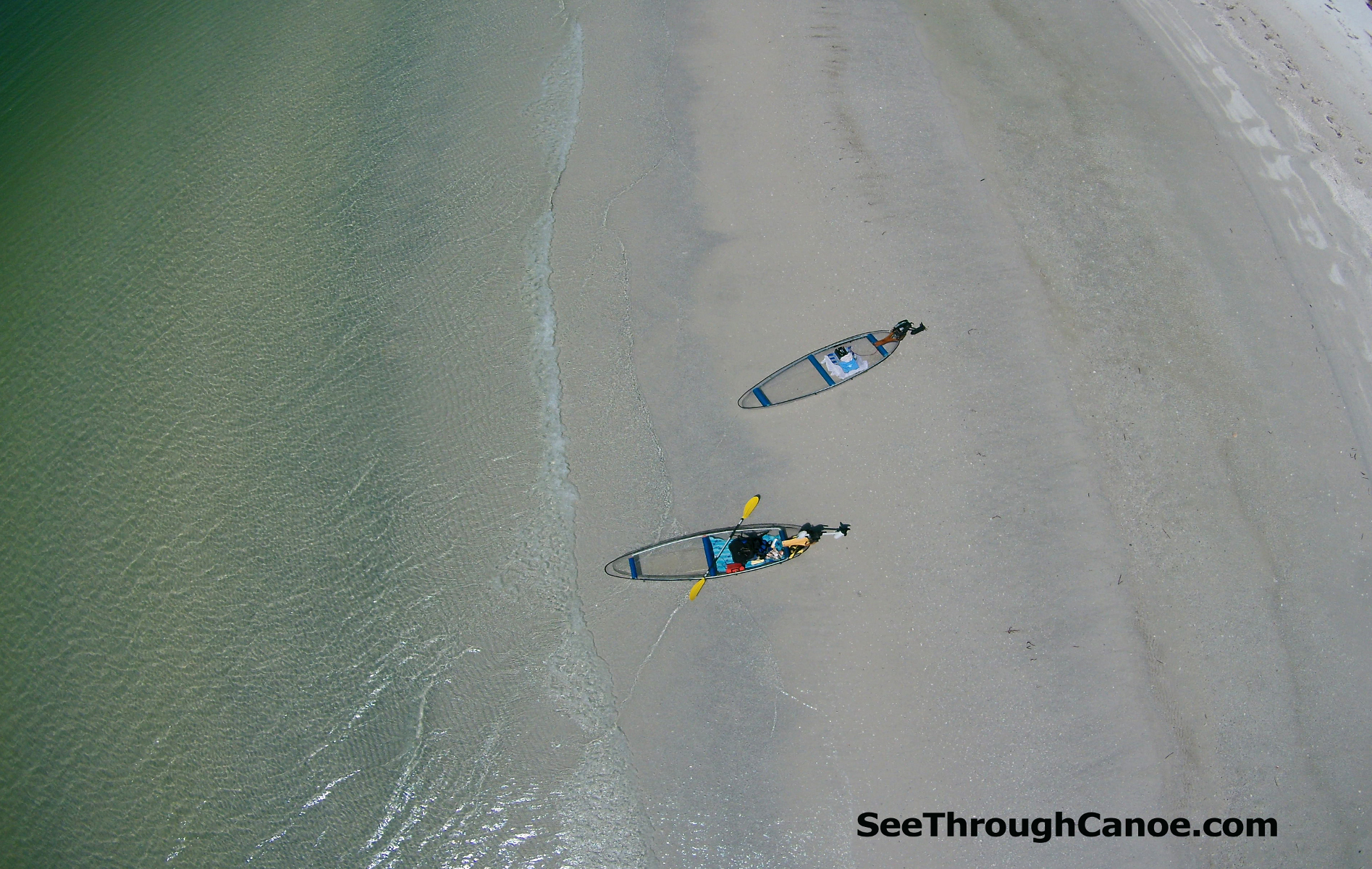 Aerial view of the transparent canoe/kayak hybrid