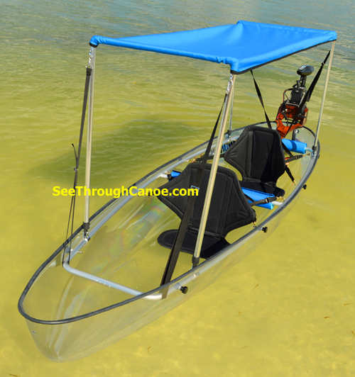 Bimini shade top for the See Through Canoe