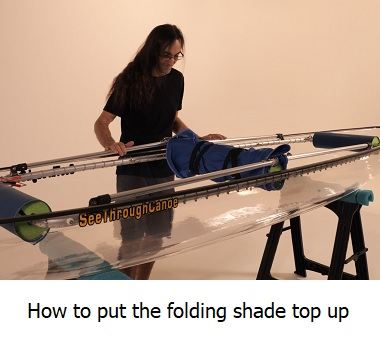 how to put the folding shade top up on the kayak