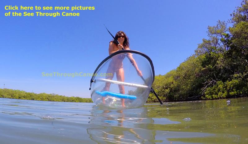 Breisja paddling a clear canoe like a stand up paddleboard