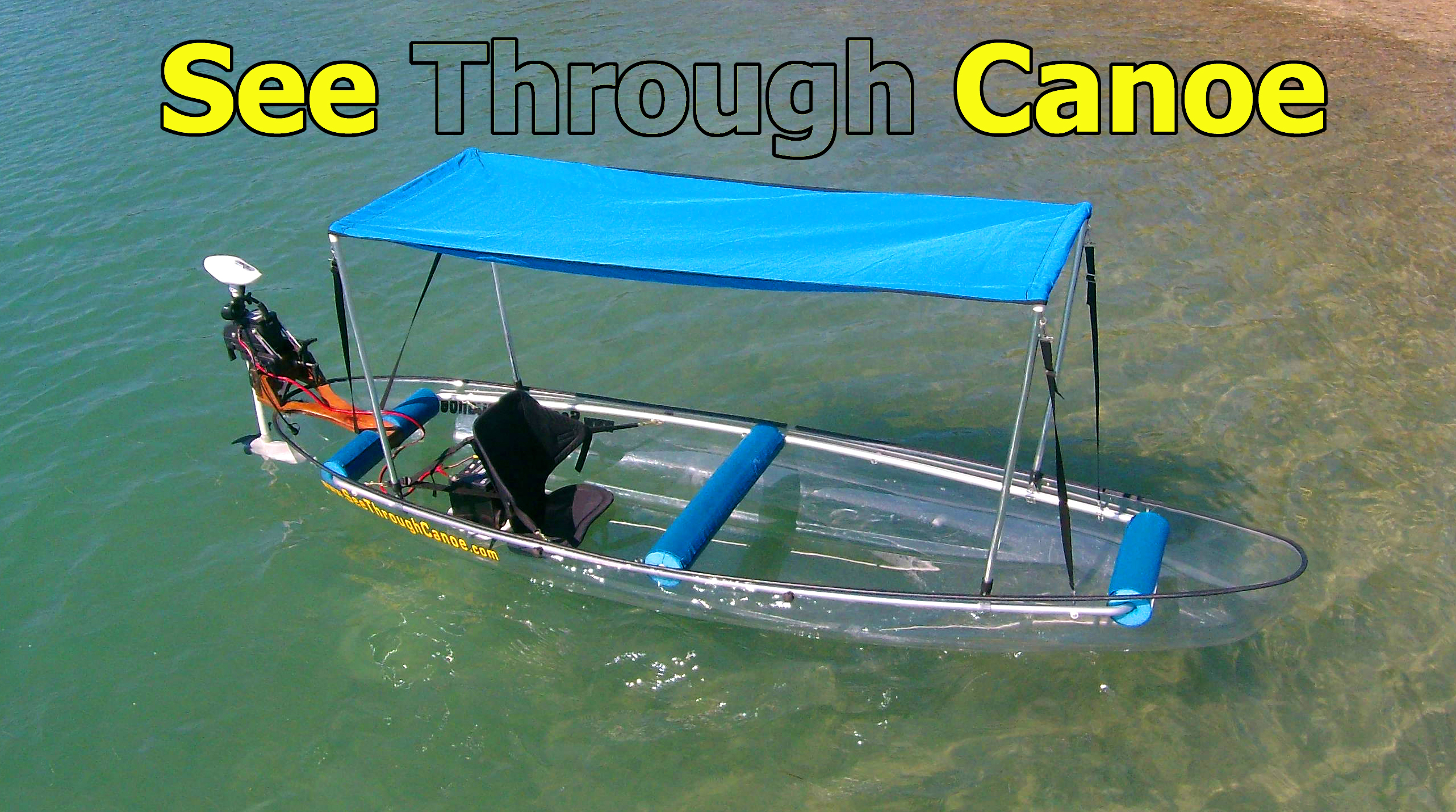 Canoe with motor on it